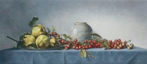 Stilleven met malusappeltjes en kweeperen Olieverf op linnen 40 x 90 cm