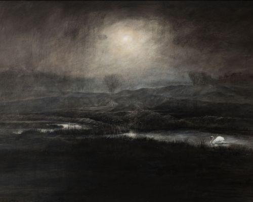 Zwaan in avondstemming acryl op doek 80 x120 cm