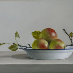 Appels op Emaille bord Olieverf op paneel 26 x 61cm