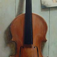 Stilleven viool 2009 olieverf op doek 30 x 80 cm